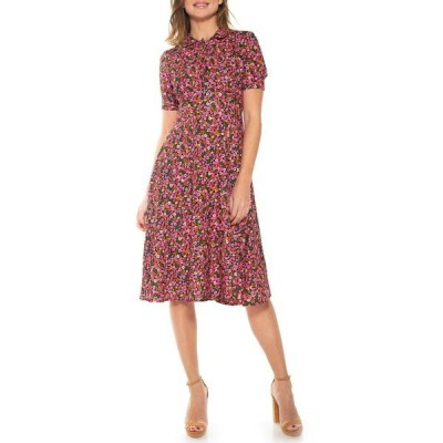 アレクシアアドマー レディース ワンピース トップス Printed Spread Collar Midi Dress PINK DITZY