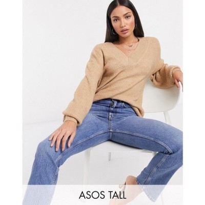 エイソス ASOS Tall レディース ニット・セーター Vネック トップス ASOS DESIGN Tall v neck fluffy jumper キャメル