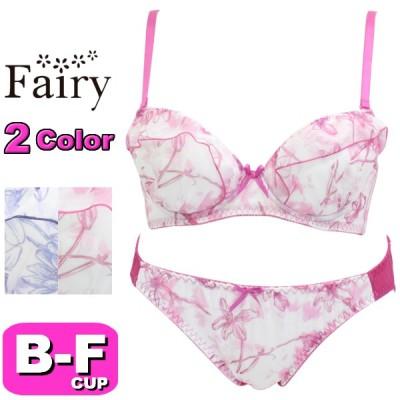 Fairy フェアリー ブラジャーショーツ セット 71314 クリアフラワーブラ 3/4カップ ブラショー BCDEFカップ