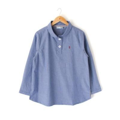 大きいサイズ レディース 綿100% 丸衿 無地 プルオーバー 長袖 シャツ ブラウス