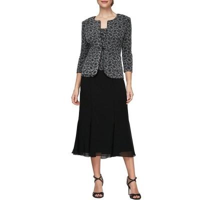 アレックスイブニングス レディース ワンピース トップス Stretch Metallic Glitter Knit 2-Piece Jacket Dress Black/White