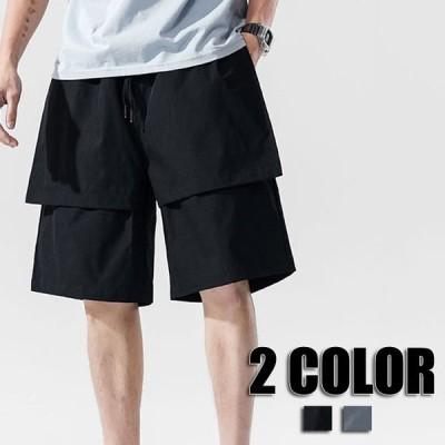 ハーフパンツ メンズ 無地 大きいサイズ ショートパンツ ハーフパンツ パンツ 春夏 ゆったり カジュアルパンツ メンズ 2色