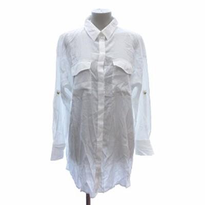 【中古】キューハート Q シャツ ブラウス 長袖 2 白 ホワイト /ST レディース