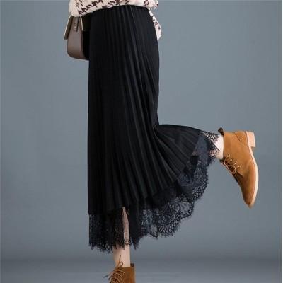 【❤高レビュー❤レーススカート】両面の着用 新色追加 綺麗 女性 ロングスカート 早秋 ファッション ハイウエスト レーススカート