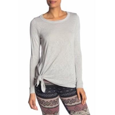 Bobeau ボビュ ファッション トップス Bobeau NEW Gray Womens Size XL Side Tie Scoop Neck Long Sleeve Blouse