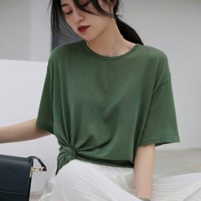 レディース Tシャツ カットソー 半袖 トップス グリーン ベージュ ホワイト ブラック フリーサイズ 送料無料