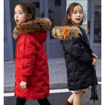 女の子ダウンコート子ども子供服ダウンジャケット男の子ロングコートファー付きアウターフード付きジュニア防寒秋冬