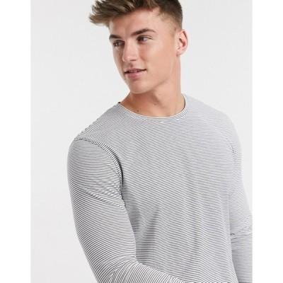 セレクテッドオム メンズ シャツ トップス Selected Homme organic cotton long sleeve fine stripe t-shirt in white