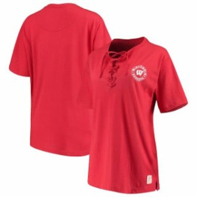 Pressbox プレス ボックス スポーツ用品  Pressbox Wisconsin Badgers Womens Red Sherry Lace-Up T-Shirt