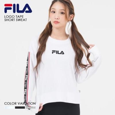 FILA フィラ ロゴ テープ ショート トレーナー レディース スウェット fl1724