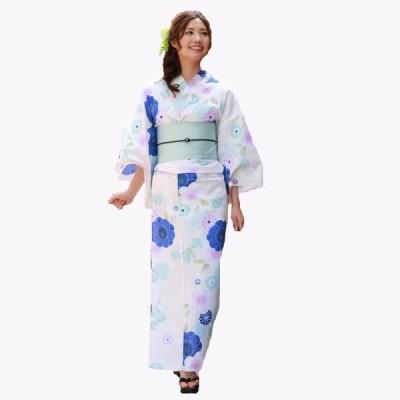 浴衣 レディース セット 生成り地に青系のラメ桜と丸菊 高級変わり織り浴衣3点セット クリーム
