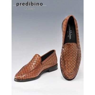 プレディビーノ Predibino メンズ レザーシューズ スリッポン 編み込み モダンな革靴 TASCAタスカ キャラメルブラウン Men's