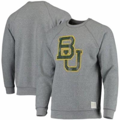 Original Retro Brand オリジナル レトロ ブランド スポーツ用品  Original Retro Brand Baylor Bears Gray School Logo Tri-Blend Pullo