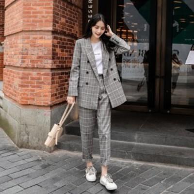 レディースファッション セットアップ パンツ ダブル チェック レトロ カジュアル オルチャン 韓国 大きいサイズ