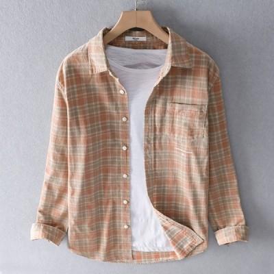 シャツ メンズ 長袖シャツ 純綿シャツ綿100% 春シャツ チェック柄 トップス 前開き 新作 カジュアルシャツ M-3XL メンズファッション