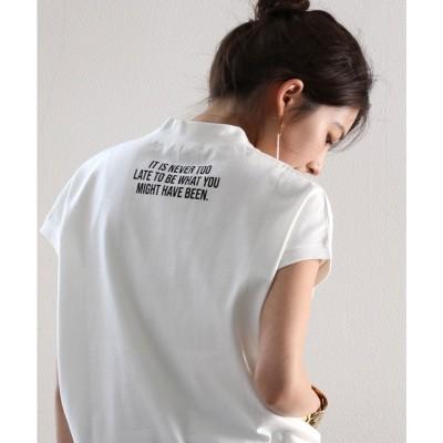 クラシカルエルフ Classical Elf ロゴバックプリント 空紡糸ミドル丈無地モックネックTシャツ(半袖) (ホワイト)