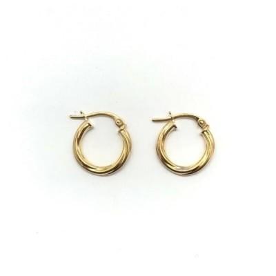 イヤリング 海外セレクション NEW 375 9ct Yellow Gold 14mm Twisted Hinged Hoop Earrings