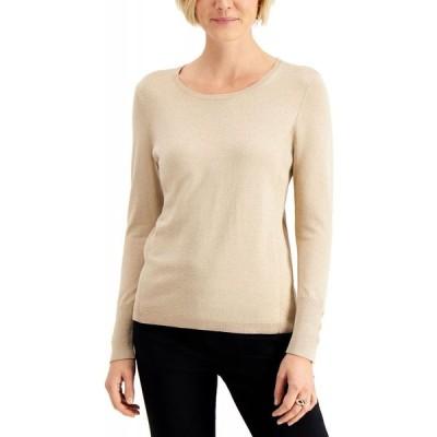 ジェイエムコレクション JM Collection レディース ニット・セーター トップス Metallic Pullover Sweater Gold Lurex