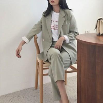 セットアップ レディース 春 パンツスーツ オフィスカジュアル 30代 韓国 ファッション テーラードジャケット センタープレス ストレート