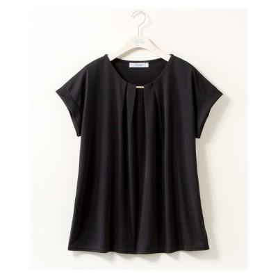 Tシャツ カットソー 大きいサイズ レディース 接触冷感 ゴールドパーツ タック プルオーバー stairs 夏 8L/10L ニッセン nissen