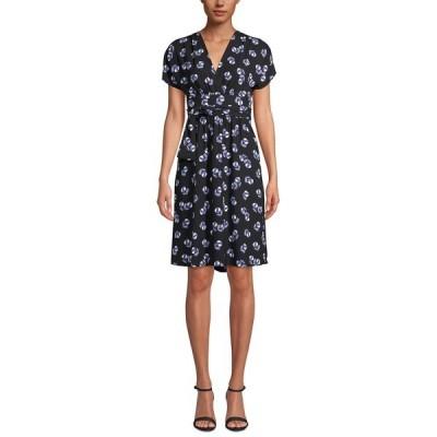 アンクライン ワンピース トップス レディース Printed V-Neck Wrap Dress Anne Black/rainshadow Combo