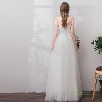 ロングドレス 大きいサイズ 結婚式 挙式 ウエディング ドレス Aラインドレス 花嫁 袖あり ウェティグドレス 安い カラードレス 二次会 パーティードレス