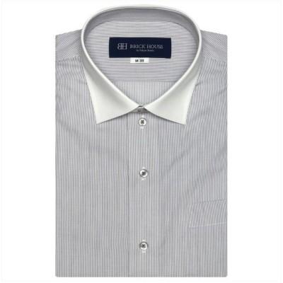 【トーキョーシャツ】 ワイシャツ 半袖 形態安定 ワイド 再生ポリエステル メンズ メンズ クロ・グレー L42(半袖) TOKYO SHIRTS