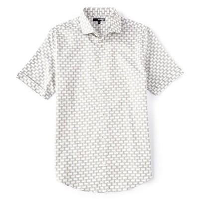 ムラノ メンズ シャツ トップス Slim-Fit Allover Print Short-Sleeve Woven Shirt
