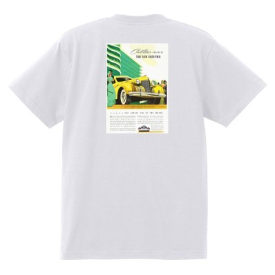 アドバタイジング キャデラックTシャツ 116 白 1940 a オールディーズ ロックンロール 1950's 1960's ロカビリー ローライダー