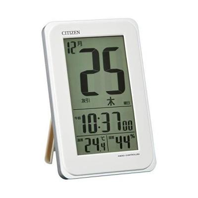 CITIZEN シチズン 目覚まし時計 電波時計 カレンダー 日めくり スマートコートS 白 128x82x23mm 8RZ139-003