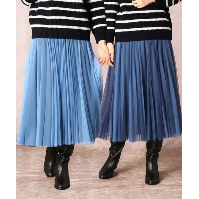 COMME CA/コムサ ソフトチュールプリーツスカート ブルー×サックス 7号