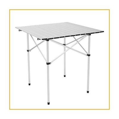 Aluminum Camping Table, Roll UP Top Lightweight Outdoor Picnic Table, Portable Foldable Compact Trip Table for Party, Beach, Backyard and BB