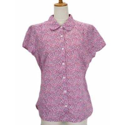 【中古】エルエルビーン L.L.BEAN シャツ 花柄 ラウンドカラー 半袖 コットン L ピンク レディース
