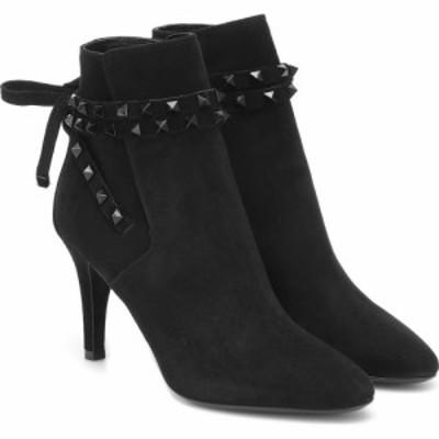 ヴァレンティノ Valentino レディース ブーツ ショートブーツ シューズ・靴 Garavani Rockstud Flair Suede Ankle Boots Nero