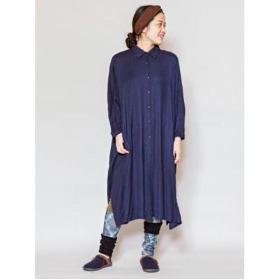 【チャイハネ】バック刺繍ロングシャツワンピース ネイビー