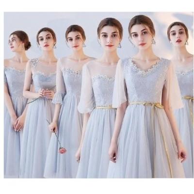 パーティードレス ウェディングドレス リボン 膝丈 10代 20代 30代 グレー ベージュ ディナー 結婚式 パーティー 大人 可愛い 上品