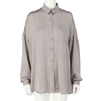 CHILLE ヴィンテージサテンオーバーサイズシャツ(グレージュ)