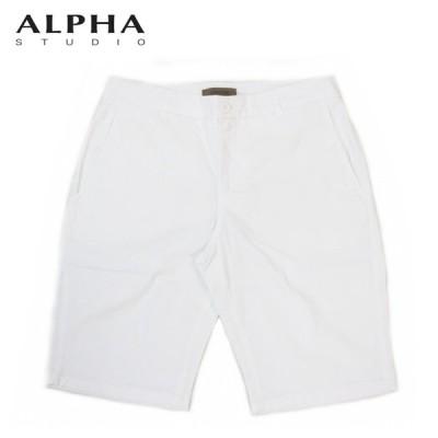 ALPHA STUDIO アルファ ステュディオ メンズ コットン ショートパンツ ハーフパンツ ボトム バミューダ ホワイト BERMUDA PANTS