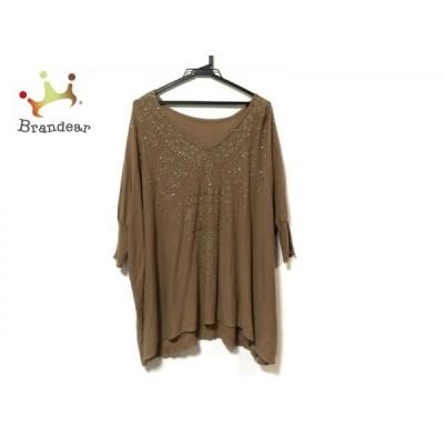 ダイアグラム 長袖セーター サイズ36 S レディース 美品 - ブラウン×ゴールド スタッズ  値下げ 20201128