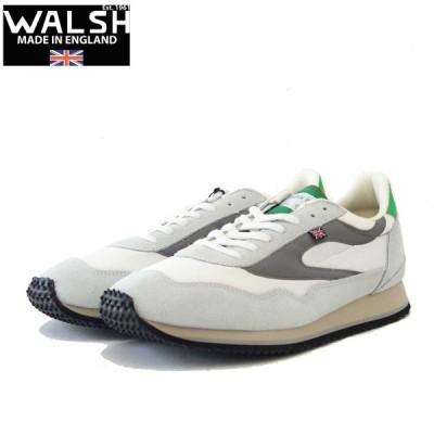 WALSH ウォルシュ ENC71005(ユニセックス) Ensign Classic カラー:ホワイト/グレー/グリーン(英国製)  スエード&ナイロンのランニングスニーカー