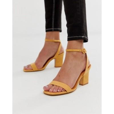 マンゴ レディース サンダル シューズ Mango two part mid sandals in yellow Yellow