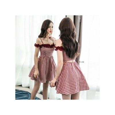 ギンガムチェック  パーティードレス フレアスカート ミニ丈 レディース ワンピース お呼ばれドレス kh-0793
