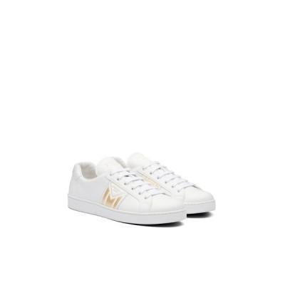 プラダ PRADA スニーカー シューズ 靴 ホワイト ゴールド カーフレザー