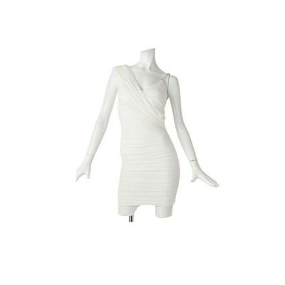【リューユ】 ミニドレス ドレープ キャバドレス ワンショルダー タイトドレス レディース ホワイト M Rew-You