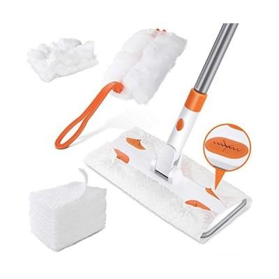 フロアワイパー-フローリングワイパー-床掃除ワイパー-10枚ドライシート付き-ハンディモップ付き