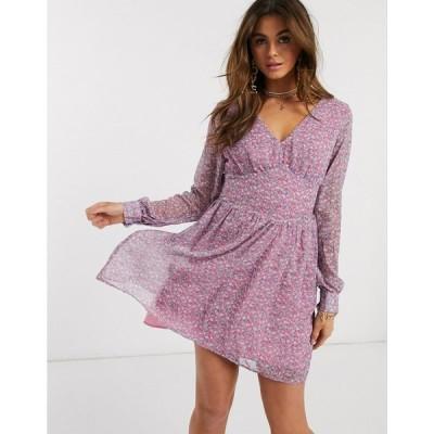 アイビーラベル ミディドレス レディース Ivyrevel balloon sleeve skater tea dress in lilac floral print エイソス ASOS マルチカラー