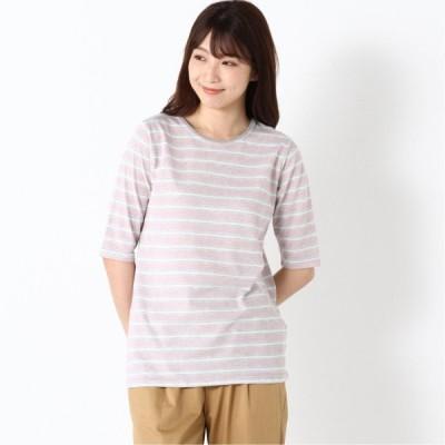 涼しく快適ドライカノコ5分袖Tシャツ グレーピンク M L LL