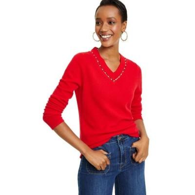 チャータークラブ レディース ニット・セーター アウター Imitation Pearl Inset V-Neck Cashmere Sweater, Created For Macy's