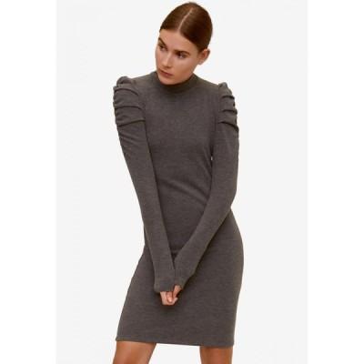 マンゴ Mango レディース ボディコンドレス ワンピース・ドレス Gathered Shoulders Knit Dress Medium Grey