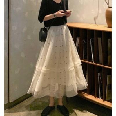 韓国 ファッション レディース スカート ドット柄 ロング チュール フレア ハイウエスト 透け感 ウエストゴム ゆったり 上品 ガーリー き